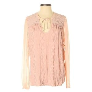 Tiny Anthropologie XL pink embroidered blouse